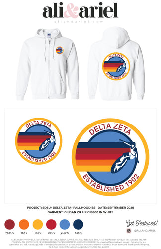 BULK SHIP: SDSU- Delta Zeta- White Zip Hoodies