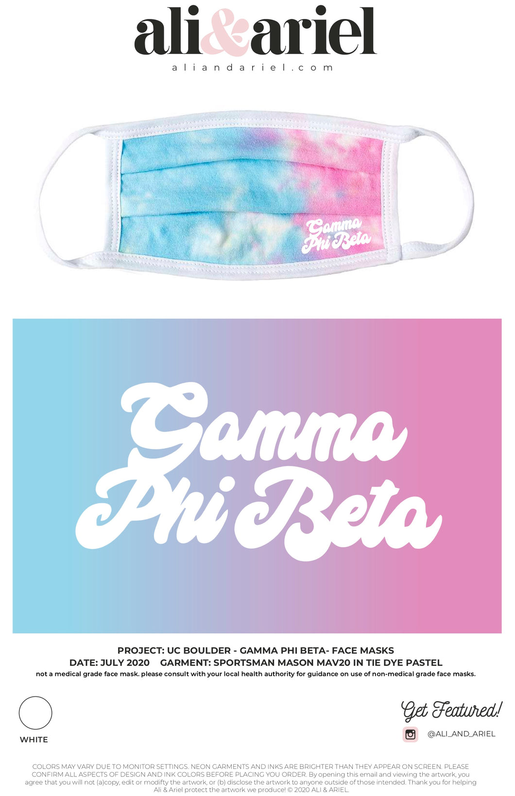 University of Colorado Boulder- Gamma Phi Beta- Face Masks