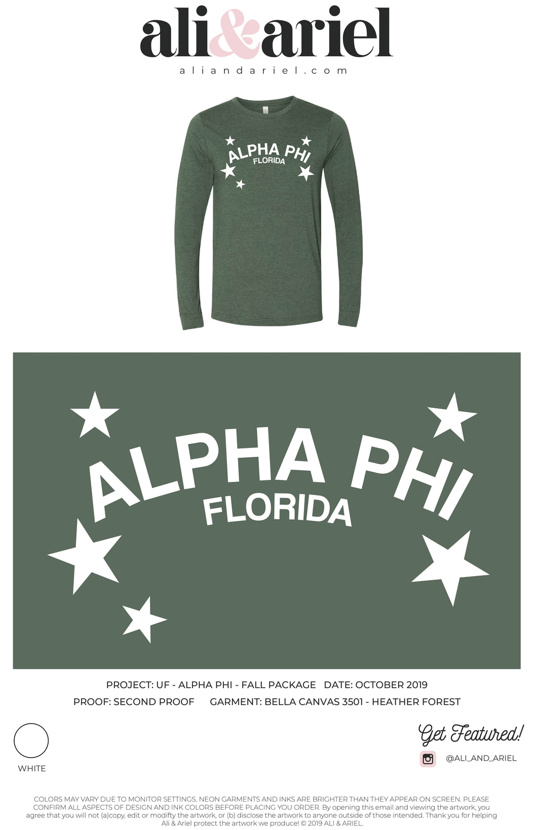 University of Florida- Alpha Phi- Star Long Sleeve Shirt