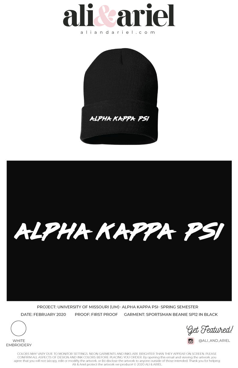University of Missouri-Alpha Kappa Psi-Beanies