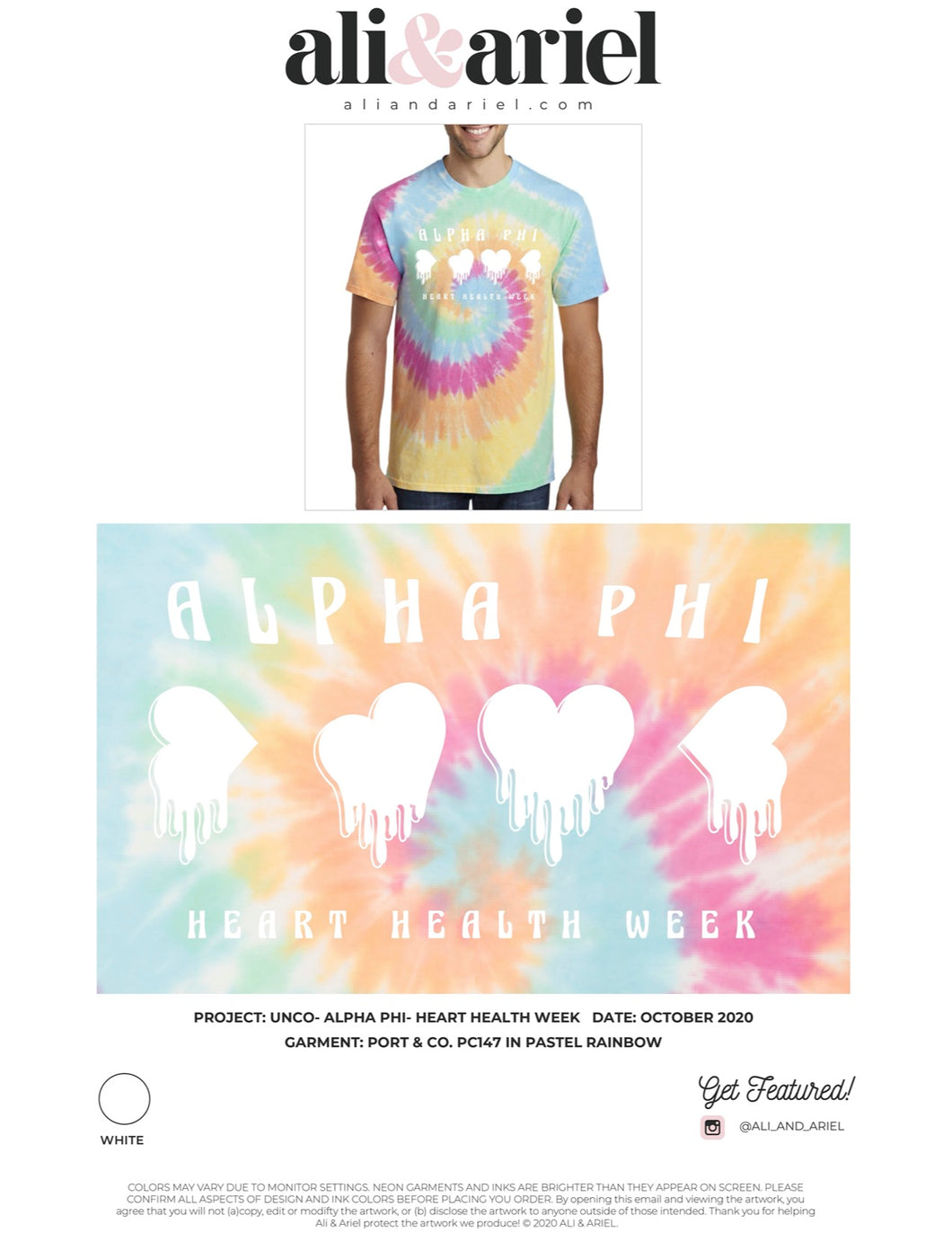 TIE DYE TEES, individual ship. UNCO- Alpha Phi- Heart Health Week