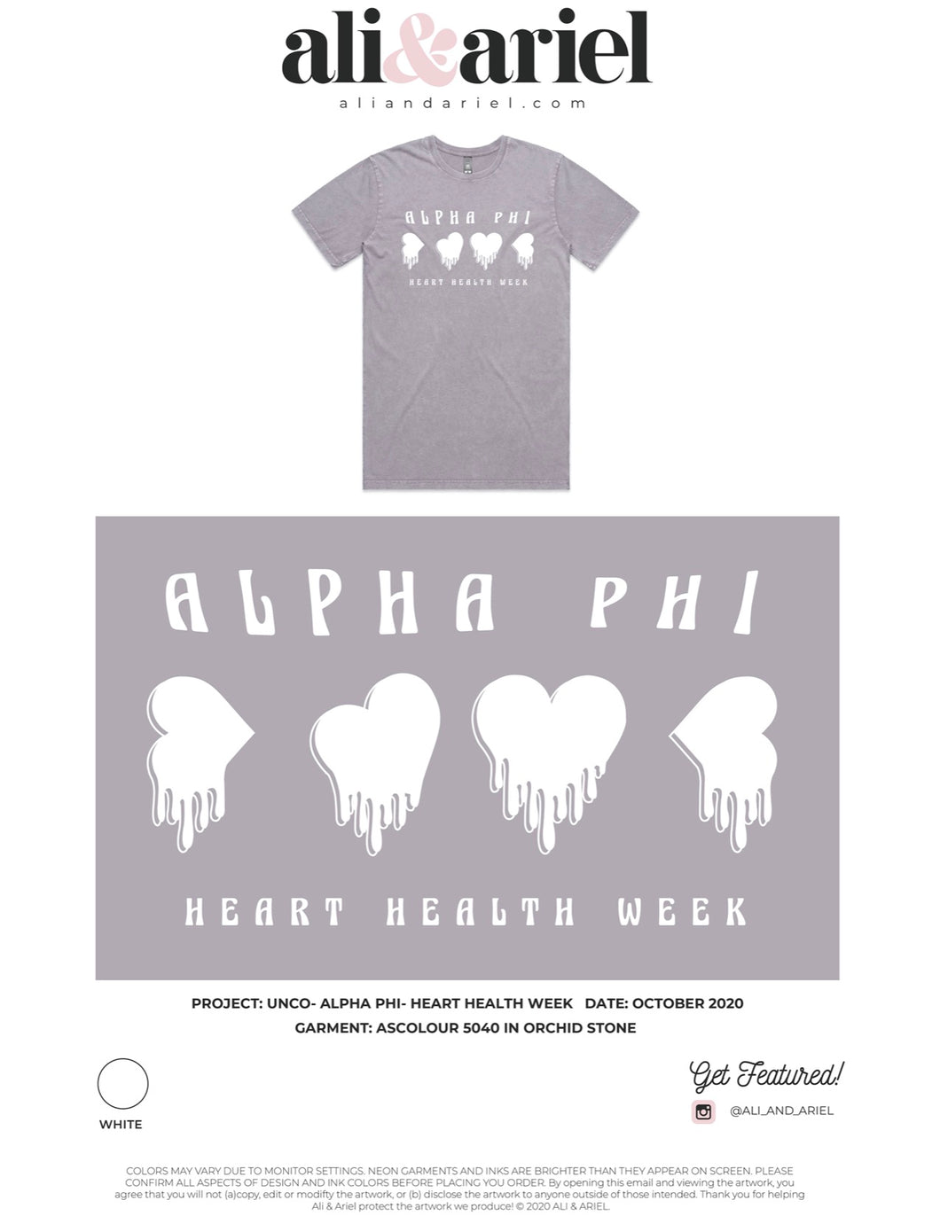 STONE WASH TEES. UNCO- Alpha Phi- Heart Health Week