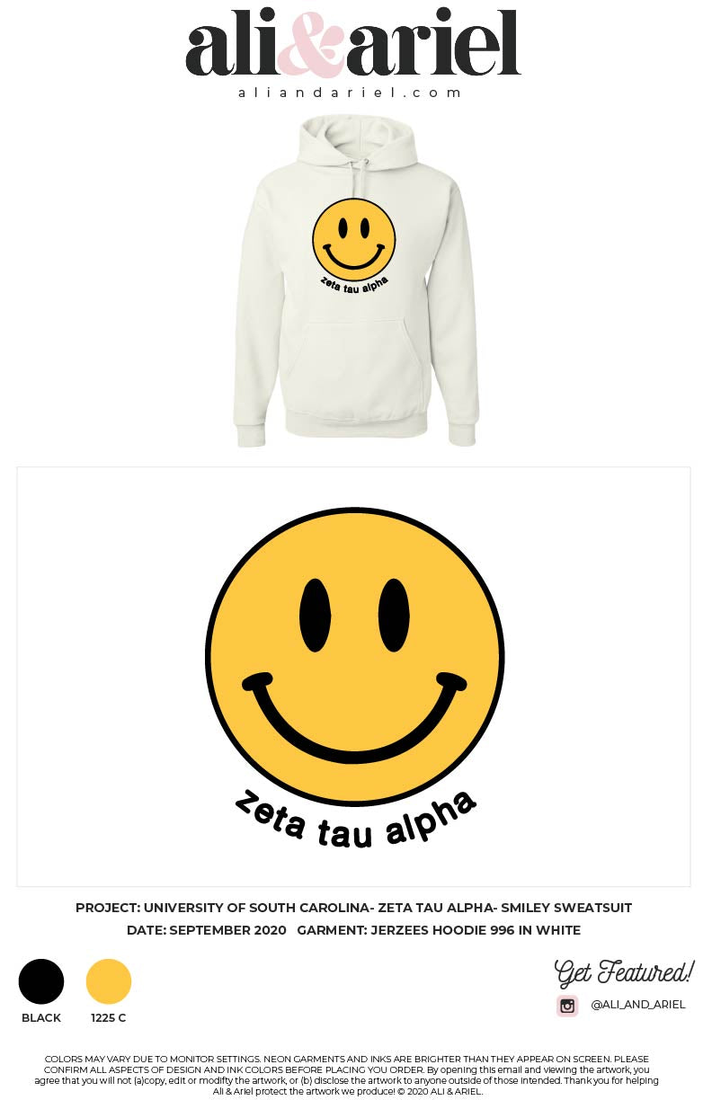 University of South Carolina- ZTA- Smiley Hoodie