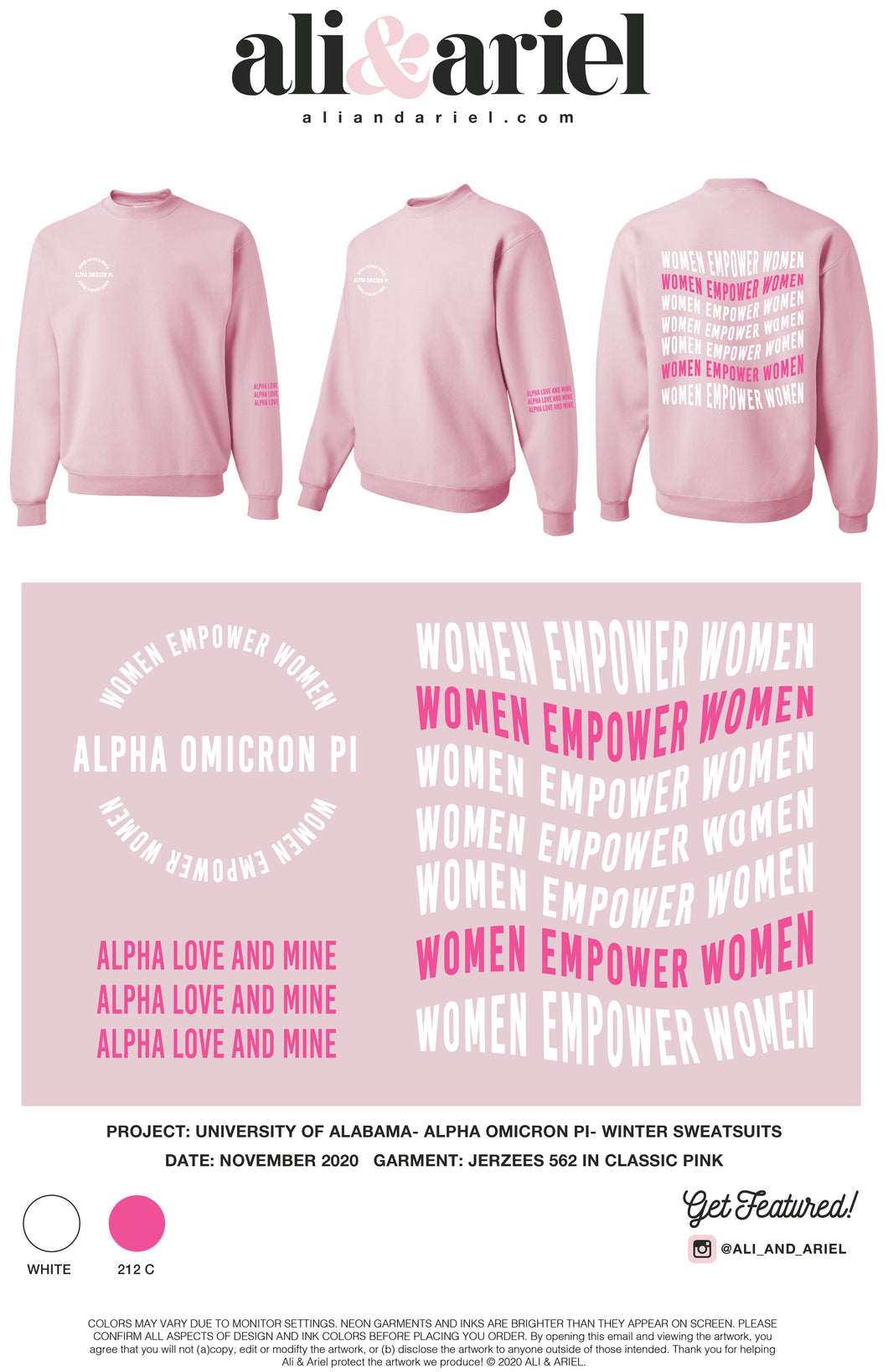 University of Alabama- Alpha Omicron Pi- Pink Crewneck
