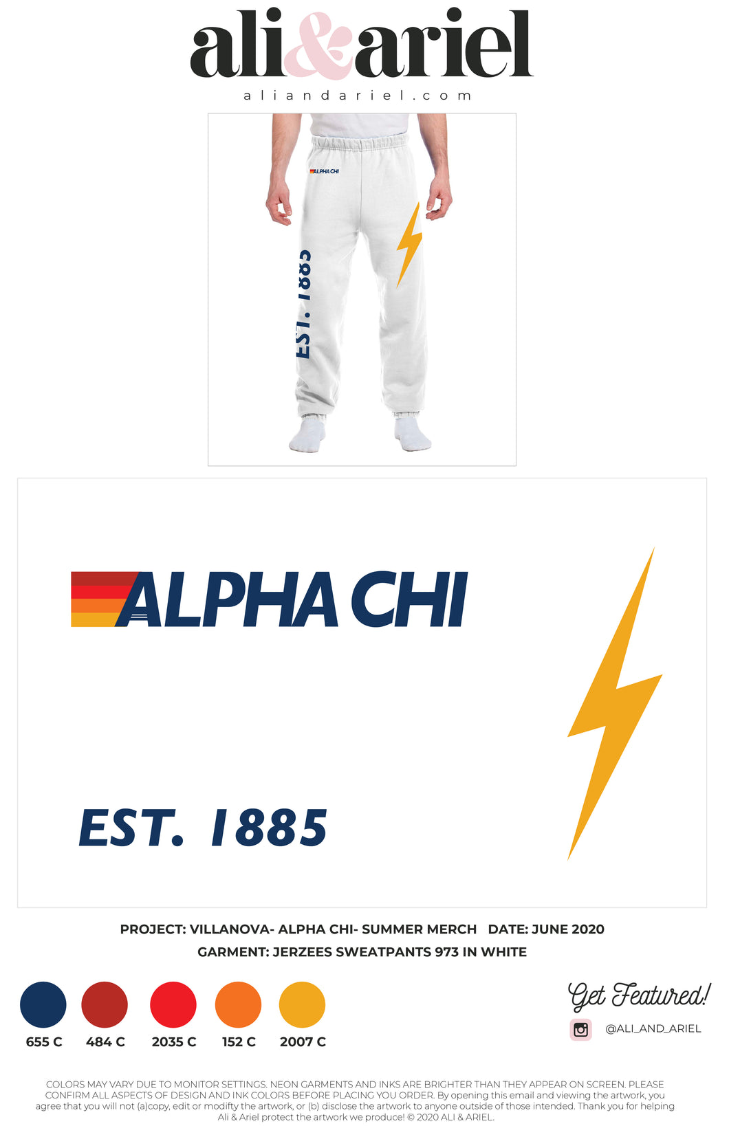 SWEATPANTS. Villanova- Alpha Chi- Summer Merch