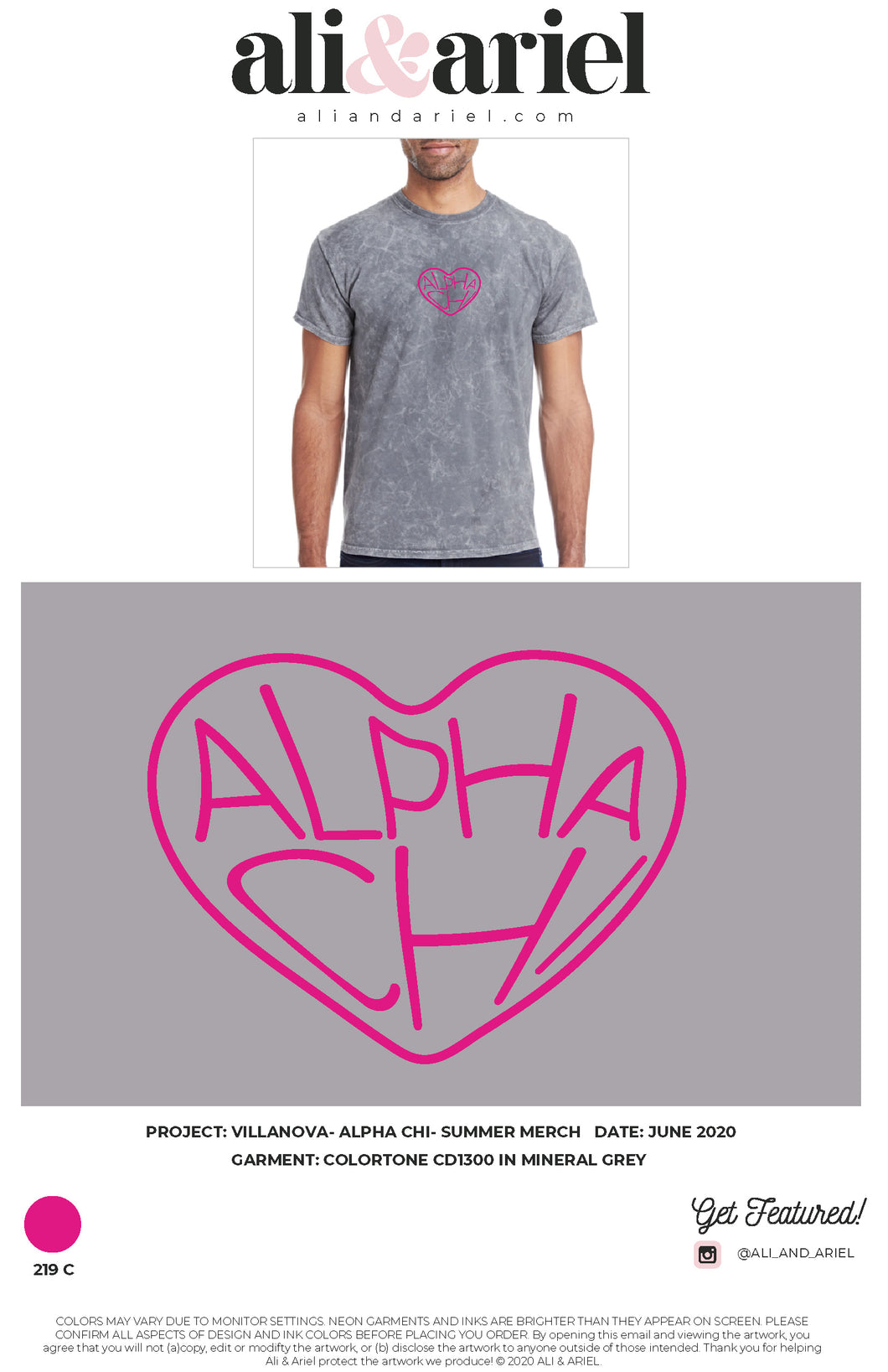 VINTAGE EMBROIDERED TEES. Villanova- Alpha Chi- Summer Merch
