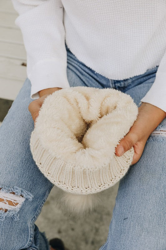 Faux Fur Lined Beanie- Ivory