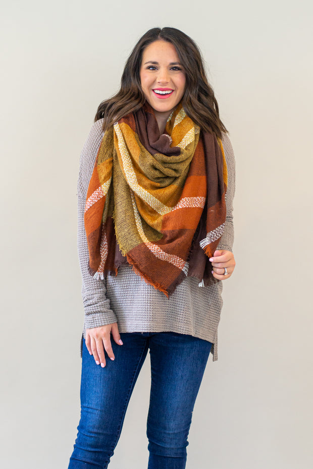 Classic Blanket Scarf- Rust & Camel