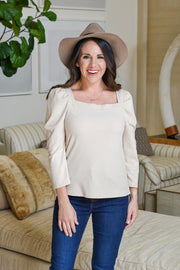About Time Puff Sleeve Top- Cream