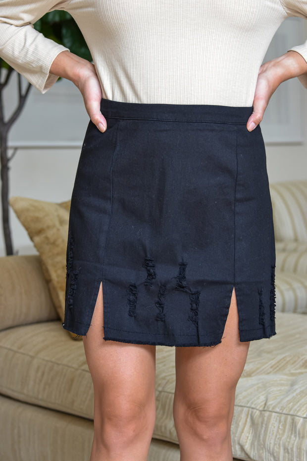 Talk Of The Town Skirt- Black