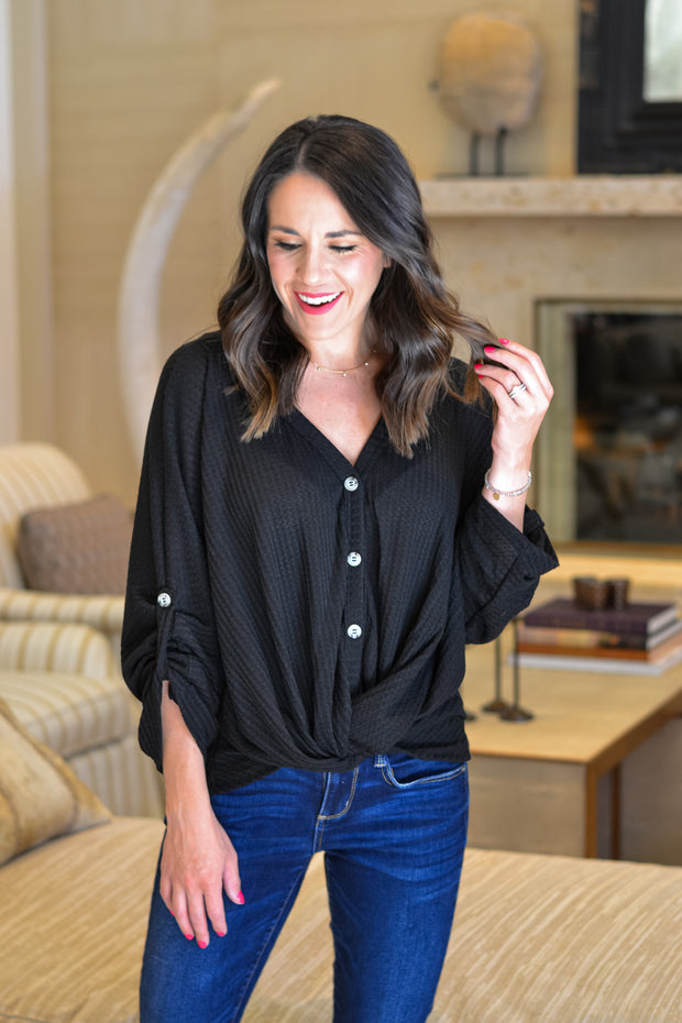 Fall Vibes Top- Black