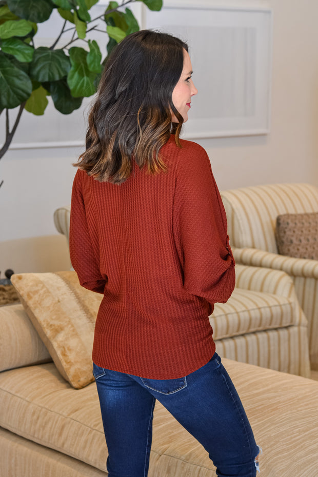 Fall Vibes Top- Rust