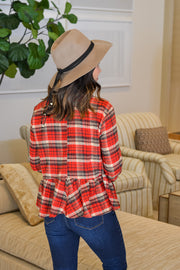 On Repeat Plaid Top- Red