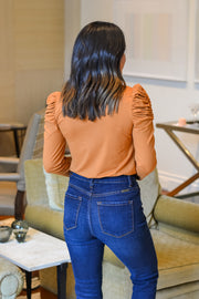 Perfect Puff Sleeve Top- Pumpkin