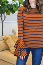 Stripes For Days Top- Brown