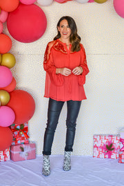 Holiday Heartbreaker Top- Red