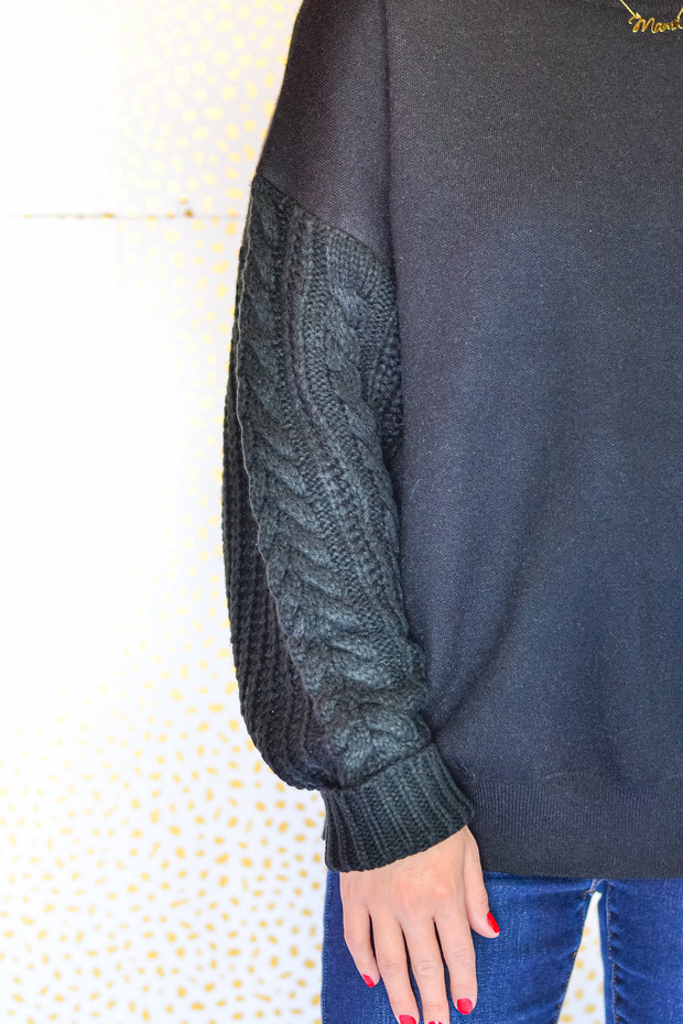 Cable Knit Sweater- Black