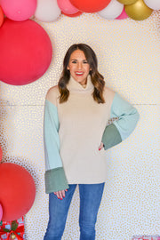 Feeling Blue Color Block Sweater