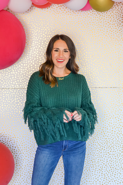 Fringe For Days Sweater- Hunter Green