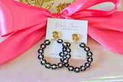 Beaded Hoop Earrings- Black