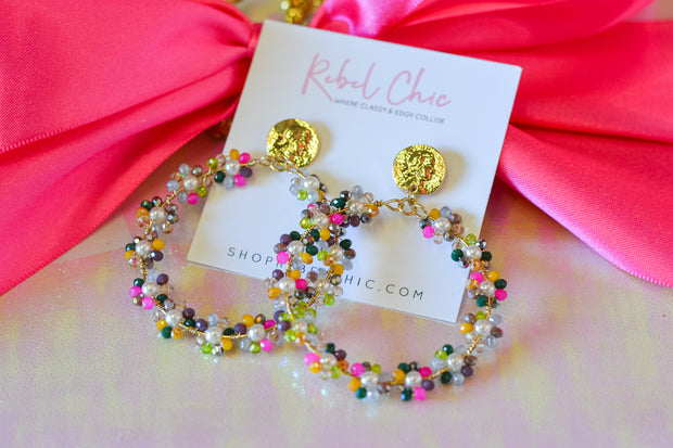 Beaded Hoop Earrings- Multi