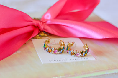 Holiday Rhinestone Earrings- Multi
