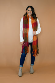 Plaid Fringe Scarf- Rust Mix
