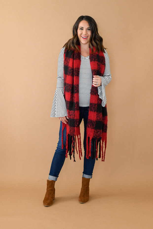 Buffalo Print Fringe Scarf- Red & Black