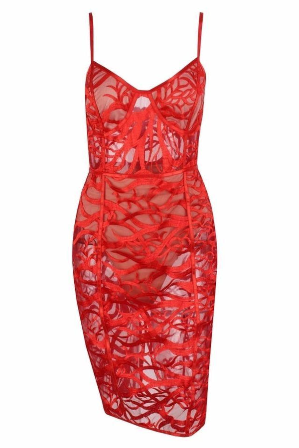 Henson Red Lace Bodycon Dress