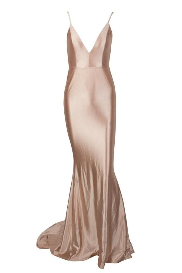 Sharee Champagne Gold Satin Finish Plunge Gown