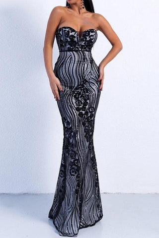 Simmona Black Sequi Detailed Maxi Gown Dress