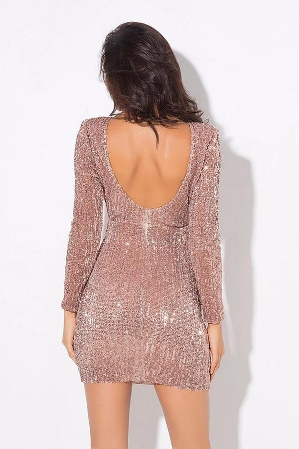 Wayla Sequin Backless Long Sleeve Bodycon Dress