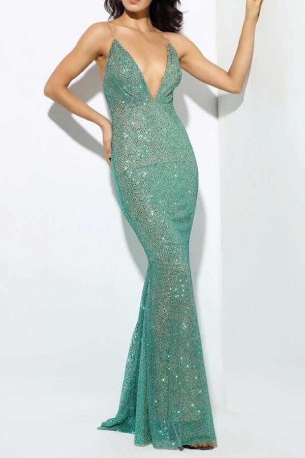 Suzie Green Sequin Plunge Gown