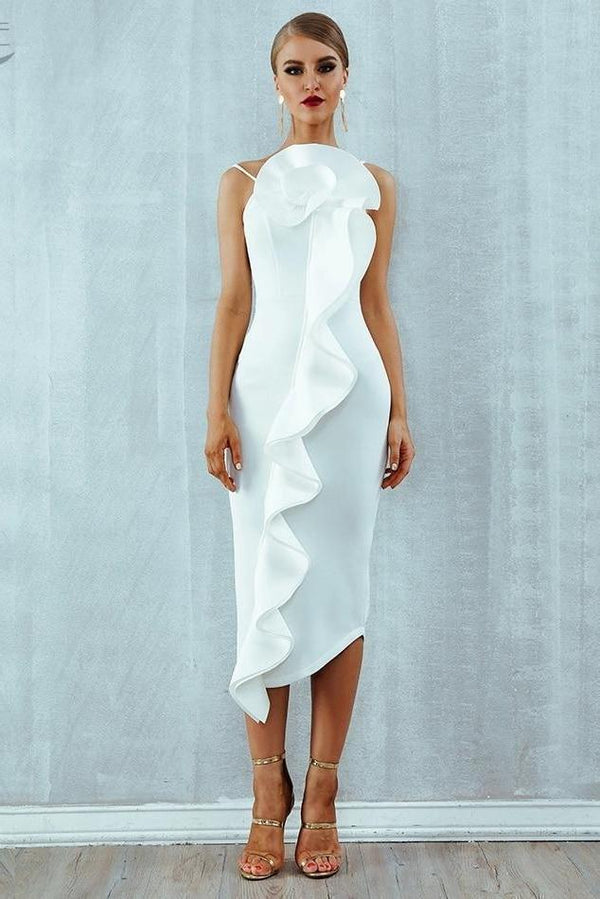 Kandie White Flower Frill Bandage Midi Dress