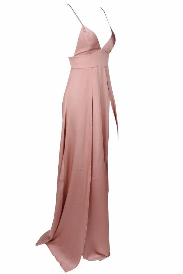 Lona Pink Satin High Slit Gown