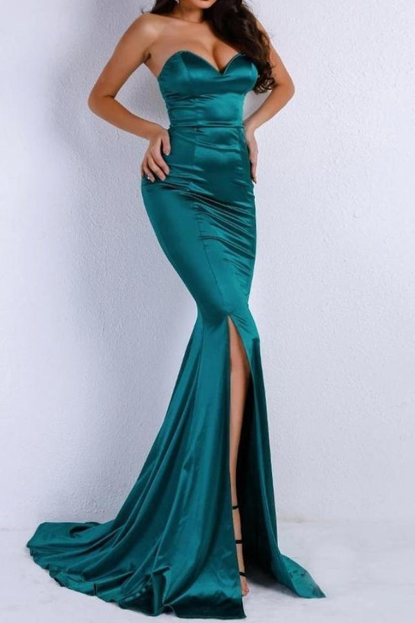 Shay Green Satin Sweetheart Gown