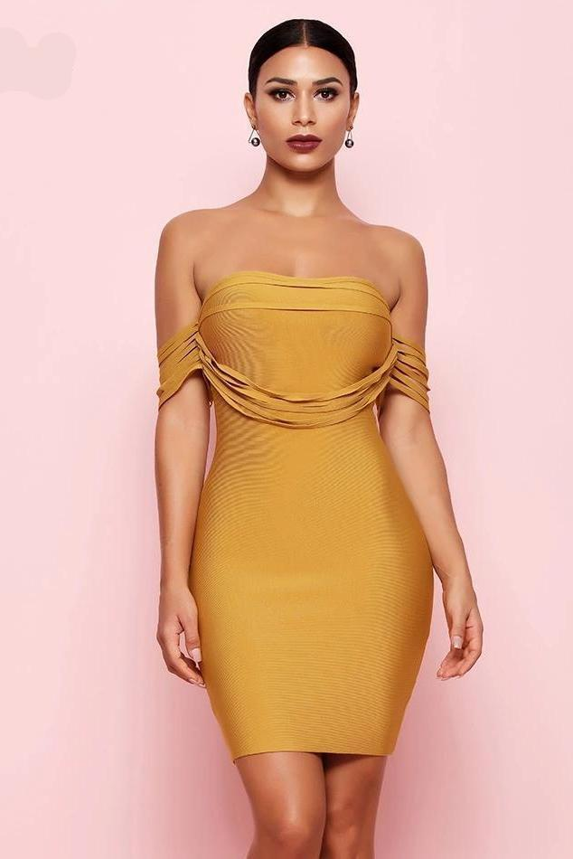 Tishah Mustard Draped Bodycon Bandage Dress