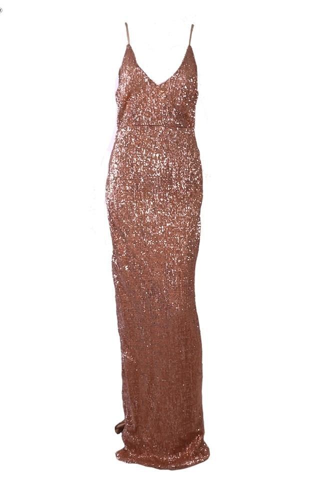 Paige Rose Pink Sequin High Slit Gown