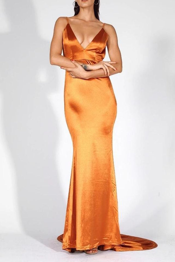 Sharee Orange Satin Finish Plunge Gown