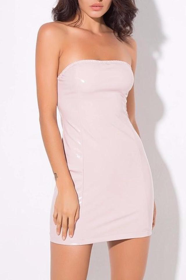 Richie Baby Pink Vinyl Bodycon Dress