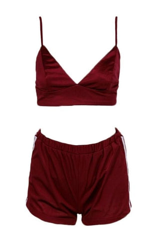 Annabelle Wine Satin Bralet + Short Set