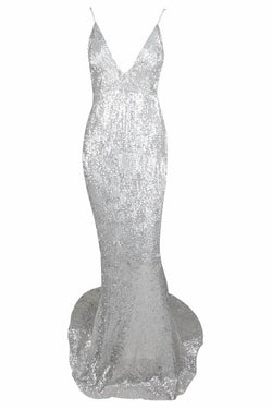 Riva Silver Sequin Plunge Gown