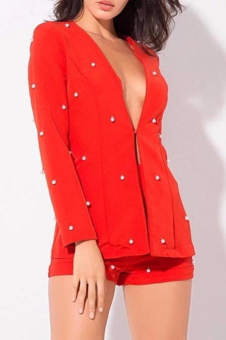 Cheree Red Beaded Blazer + Short Two Piece