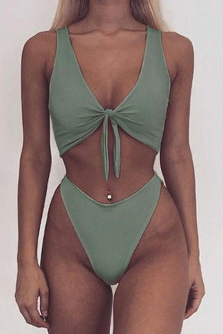 Kay Khaki Tie Two Piece