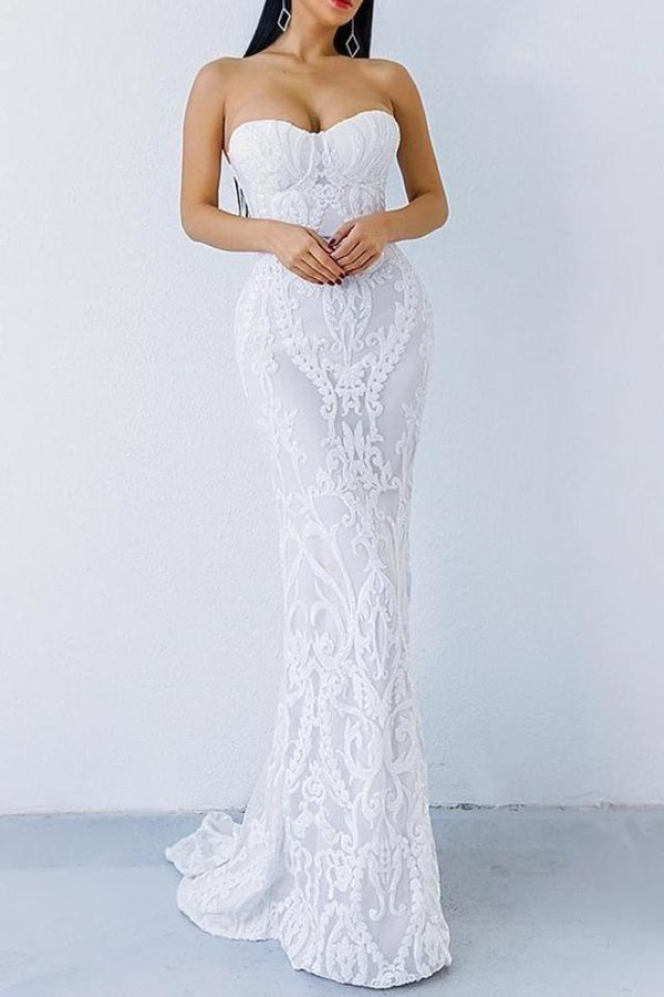 Adele White Sequin Detailed Maxi Gown Dress