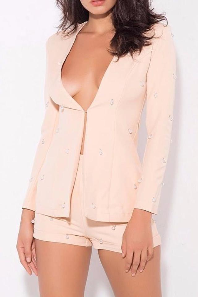 Cheree Peach Beaded Blazer + Short Two Piece