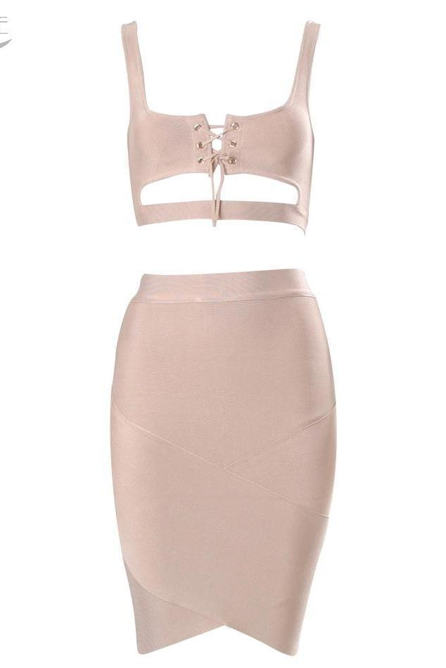 Eleanor Beige Lace Up Bandage Two - Piece