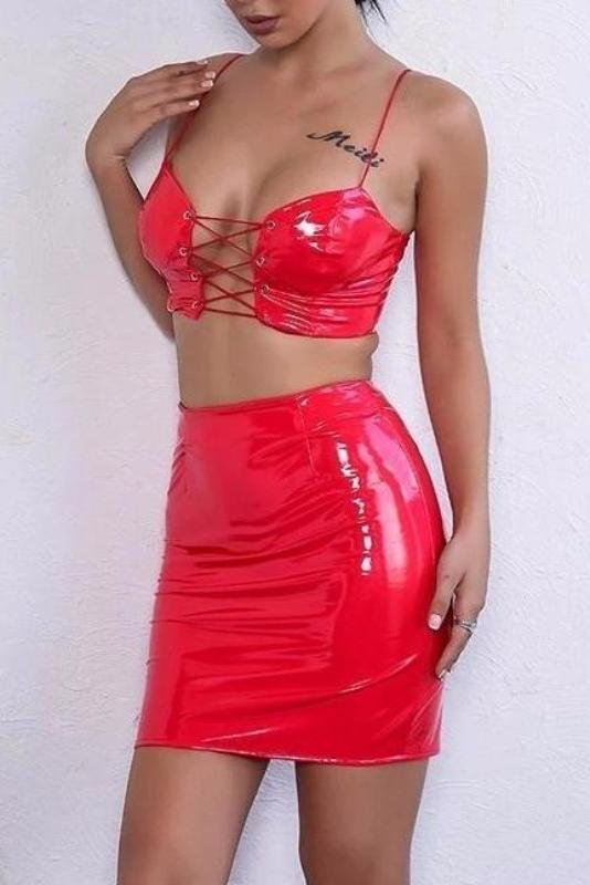 Bobbie Red Vinyl Lace Up Two - Piece