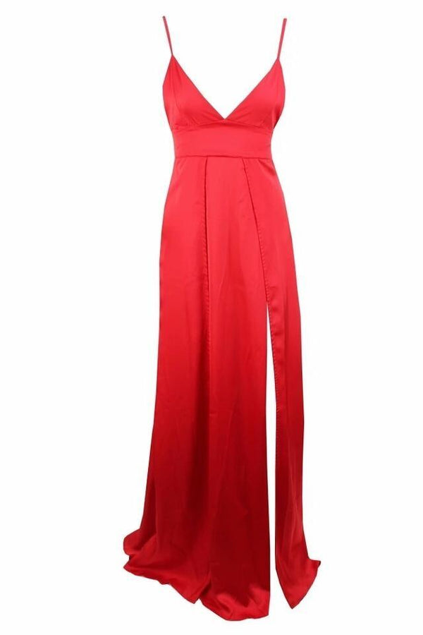 Lona Red Satin High Slit Gown