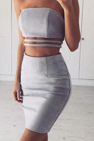 Courtnie Grey Suede Stapless Cut Out Two - Piece
